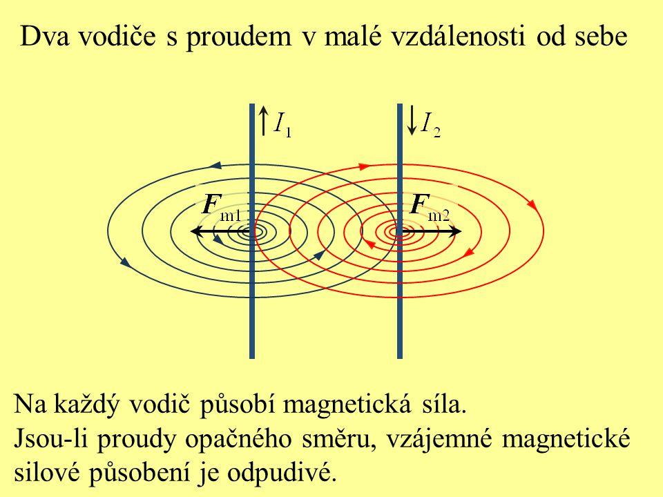 Dva vodiče s proudem v malé vzdálenosti od sebe Na každý vodič působí magnetická síla. Jsou-li proudy opačného směru, vzájemné magnetické silové působ