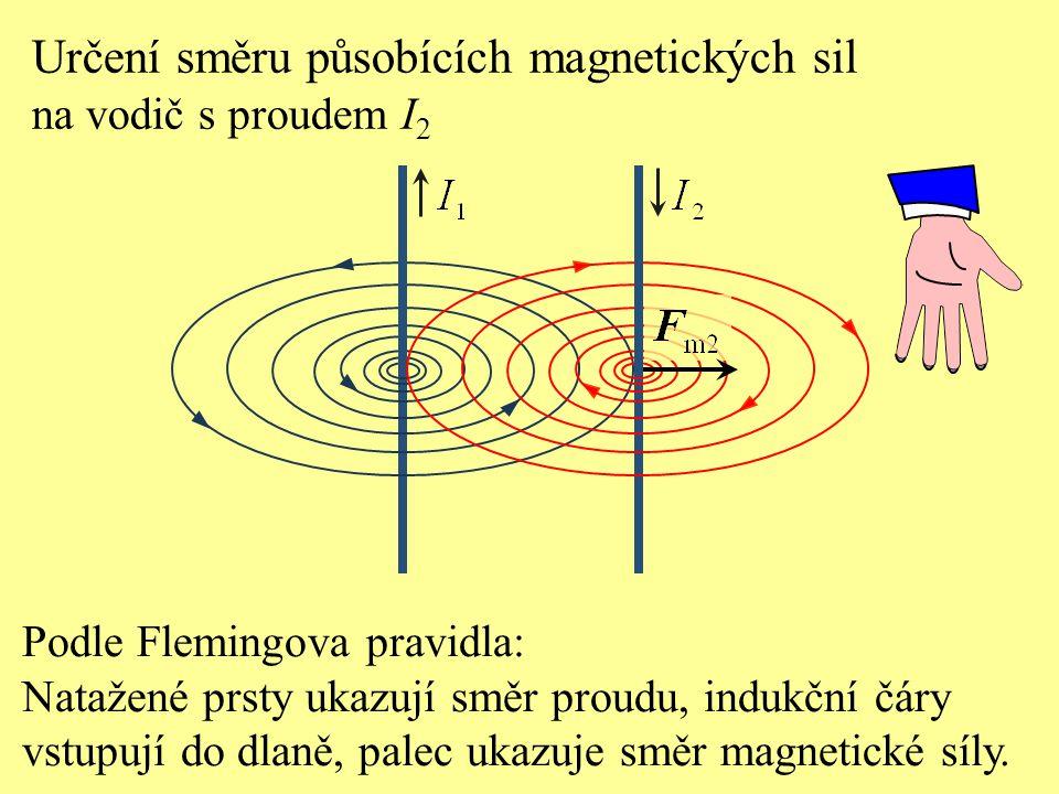 Určení směru působících magnetických sil na vodič s proudem I 1 Podle Flemingova pravidla: Natažené prsty ukazují směr proudu, indukční čáry vstupují do dlaně, palec ukazuje směr magnetické síly.