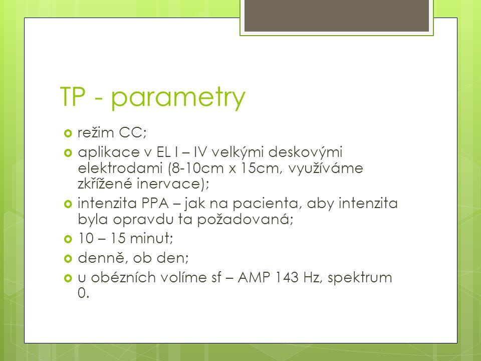TP - parametry  režim CC;  aplikace v EL I – IV velkými deskovými elektrodami (8-10cm x 15cm, využíváme zkřížené inervace);  intenzita PPA – jak na