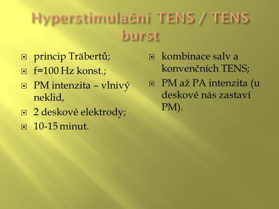  princip Träbertů;  f=100 Hz konst.;  PM intenzita – vlnivý neklid,  2 deskové elektrody;  10-15 minut.