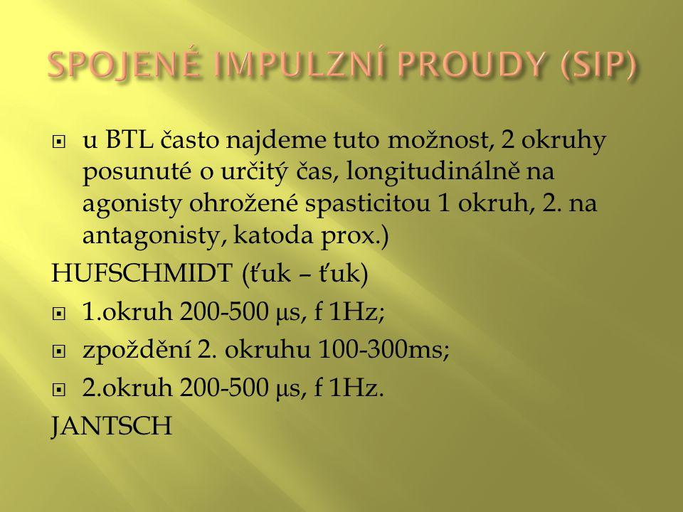  u BTL často najdeme tuto možnost, 2 okruhy posunuté o určitý čas, longitudinálně na agonisty ohrožené spasticitou 1 okruh, 2.