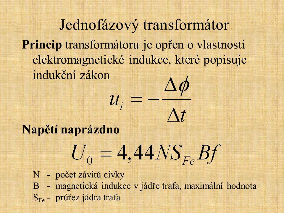 Jednofázový transformátor Konstrukce transformátoru: Vstupní vinutí = primár Výstupní vinutí = sekundár Impedanční převod
