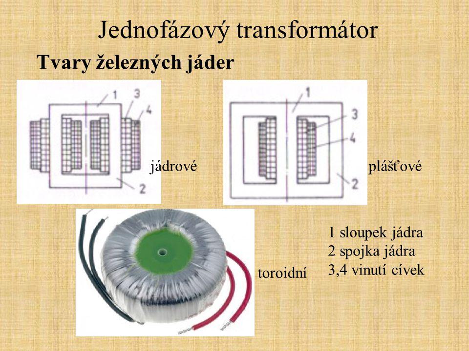 Jednofázový transformátor Stav naprázdno: Nezatížený transformátor se chová jako cívka s velkou indukčností, účiník cosφ=0,2.