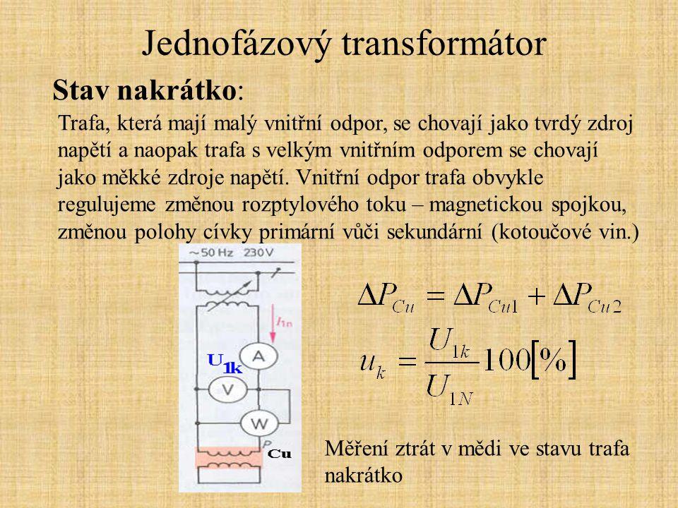 Jednofázový transformátor Stav nakrátko: Velikost zkratového proudu závisí na okamžiku vzniku zkratu.