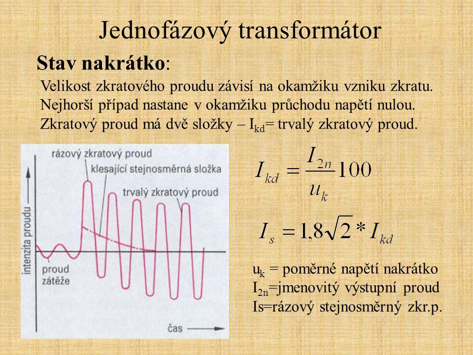 Jednofázový transformátor Vliv zátěže Při činné zátěži a ještě víc při indukční zátěži výstupní napětí s proudem klesá, při kapacitní zátěži napětí roste.