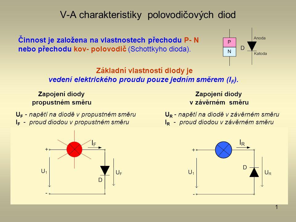 1 V-A charakteristiky polovodičových diod Činnost je založena na vlastnostech přechodu P- N nebo přechodu kov- polovodič (Schottkyho dioda). Zapojení