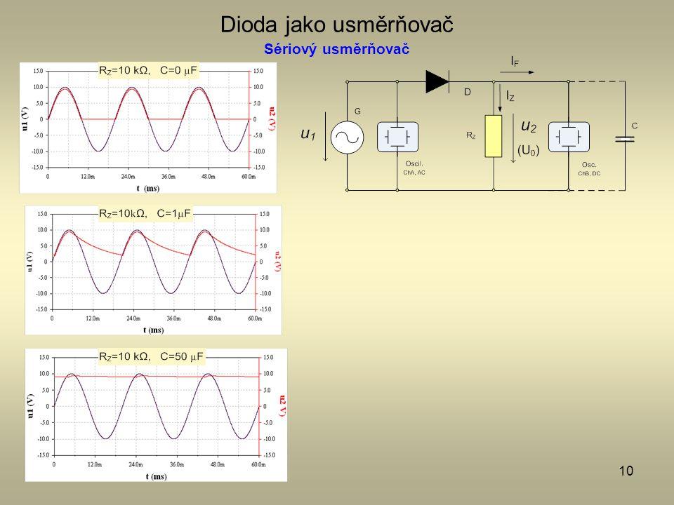 10 Dioda jako usměrňovač Sériový usměrňovač
