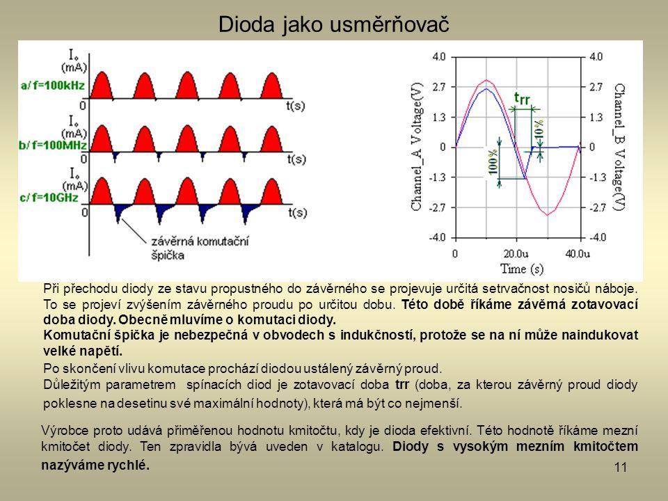 11 Dioda jako usměrňovač Při přechodu diody ze stavu propustného do závěrného se projevuje určitá setrvačnost nosičů náboje. To se projeví zvýšením zá