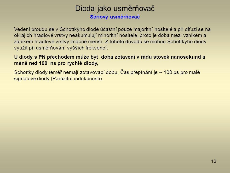 12 Dioda jako usměrňovač Sériový usměrňovač Vedení proudu se v Schottkyho diodě účastní pouze majoritní nositelé a při difúzi se na okrajích hradlové
