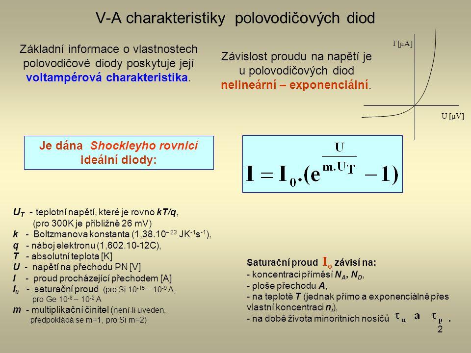 2 V-A charakteristiky polovodičových diod Základní informace o vlastnostech polovodičové diody poskytuje její voltampérová charakteristika. Závislost