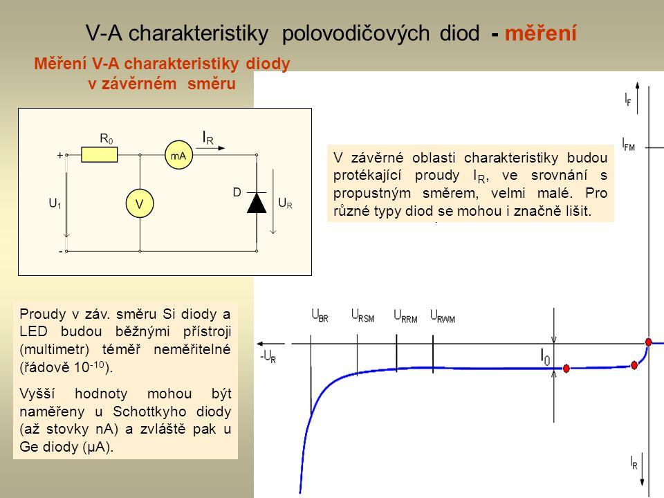 4 V-A charakteristiky polovodičových diod - měření Měření V-A charakteristiky diody v závěrném směru V závěrné oblasti charakteristiky budou protékají