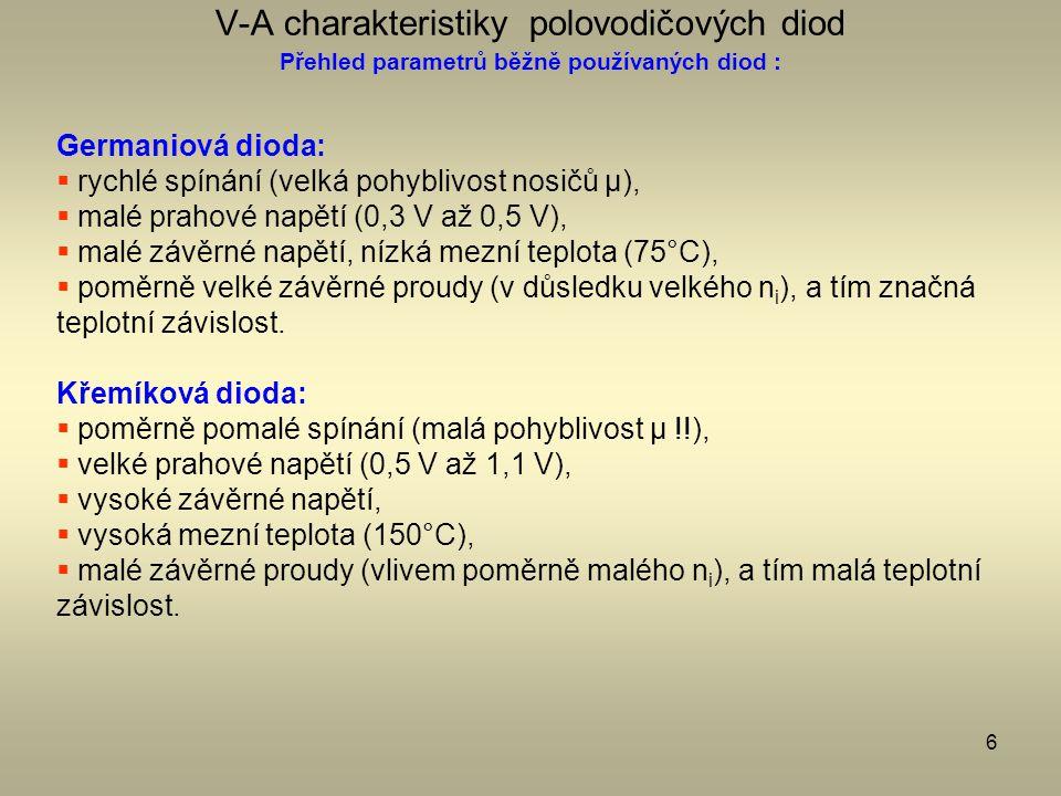 6 V-A charakteristiky polovodičových diod Přehled parametrů běžně používaných diod : Germaniová dioda:  rychlé spínání (velká pohyblivost nosičů μ),