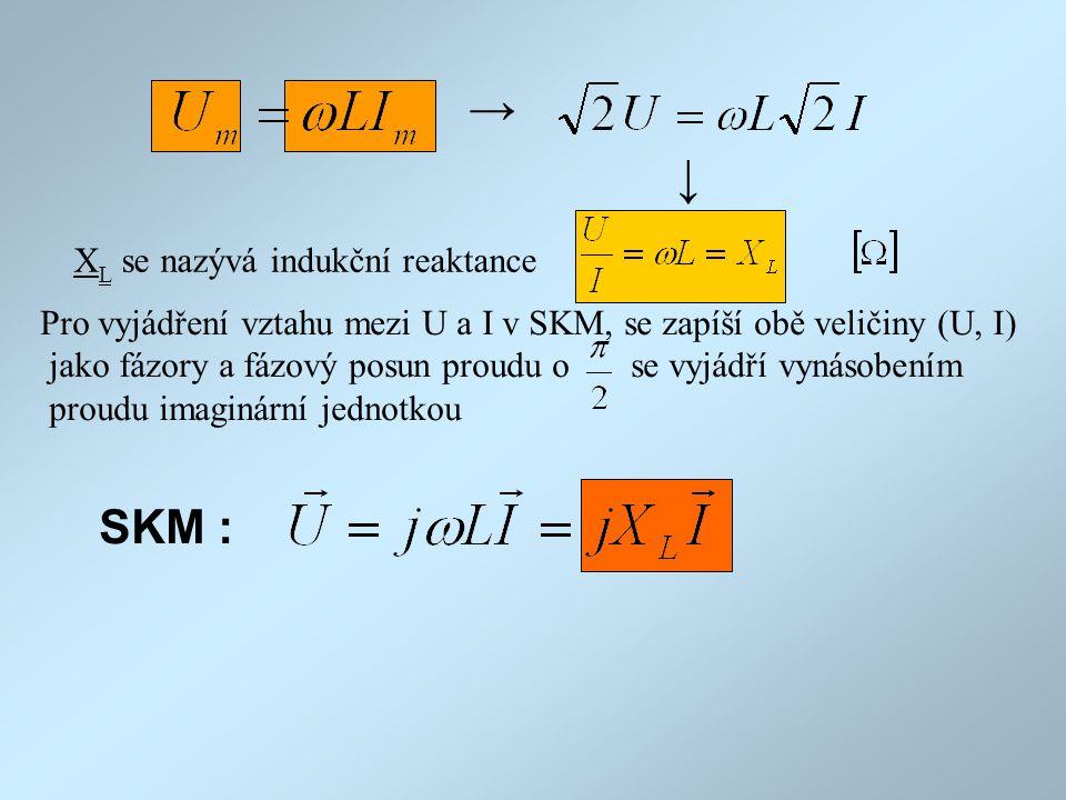 → → X L se nazývá indukční reaktance Pro vyjádření vztahu mezi U a I v SKM, se zapíší obě veličiny (U, I) jako fázory a fázový posun proudu o se vyjád
