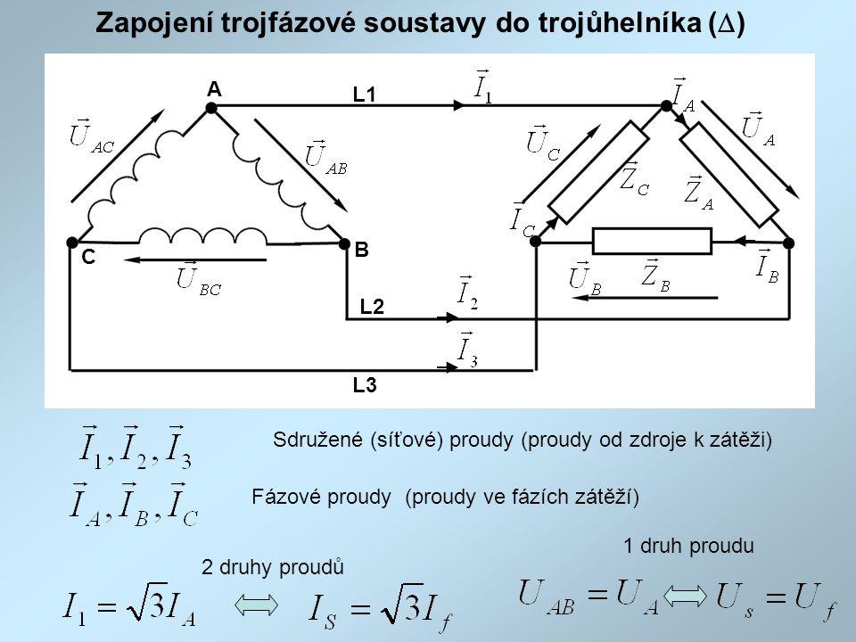 Zapojení trojfázové soustavy do trojůhelníka (  ) Fázové proudy (proudy ve fázích zátěží) Sdružené (síťové) proudy (proudy od zdroje k zátěži) 1 druh