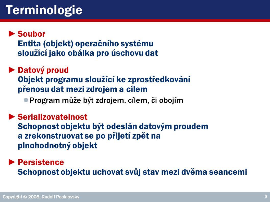 Copyright © 2008, Rudolf Pecinovský 24 Postup pro otevření souboru3/4 6.Zavoláním setFileSelectionMode(int) zadat, zda se mají vybírat adresáře a/nebo soubory ● JFileChooser.FILES_ONLY ● JFileChooser.DIRECTORIES_ONLY ● JFileChooser.FILES_AND_DIRECTORIES 7.Zobrazit dialogové okno pro výběr souborů či složek zavoláním metody ● showOpenDialog(Component parent) ● showSaveDialog(Component parent) ● showDialog(Component parent, String approveButtonText) Chceme-li sami zadat text na potvrzovacím tlačítku