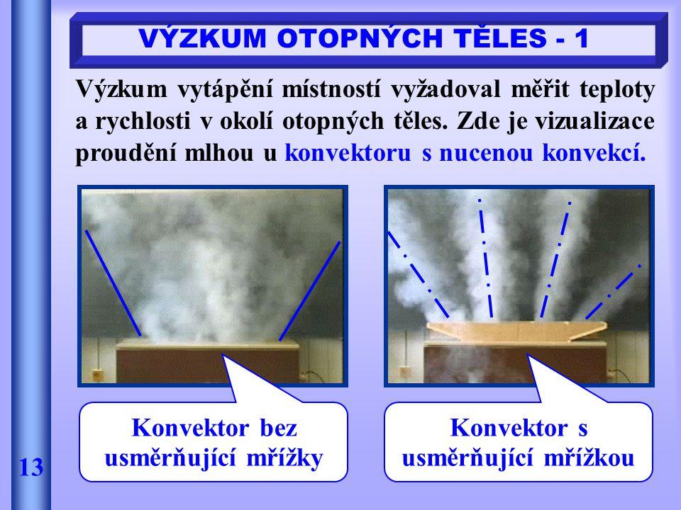 VÝZKUM OTOPNÝCH TĚLES - 1 13 Výzkum vytápění místností vyžadoval měřit teploty a rychlosti v okolí otopných těles. Zde je vizualizace proudění mlhou u