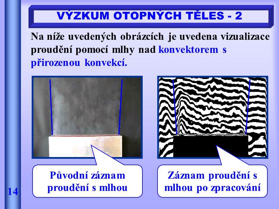 VÝZKUM OTOPNÝCH TĚLES - 2 14 Na níže uvedených obrázcích je uvedena vizualizace proudění pomocí mlhy nad konvektorem s přirozenou konvekcí. Původní zá