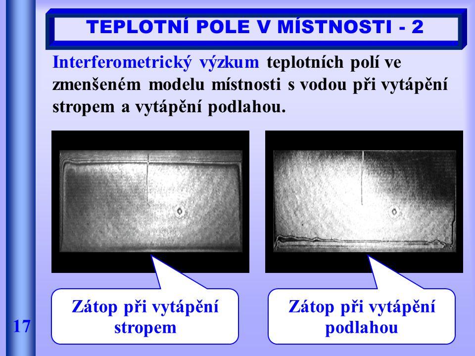 17 TEPLOTNÍ POLE V MÍSTNOSTI - 2 Interferometrický výzkum teplotních polí ve zmenšeném modelu místnosti s vodou při vytápění stropem a vytápění podlah