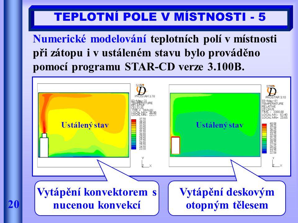 20 TEPLOTNÍ POLE V MÍSTNOSTI - 5 Numerické modelování teplotních polí v místnosti při zátopu i v ustáleném stavu bylo prováděno pomocí programu STAR-C