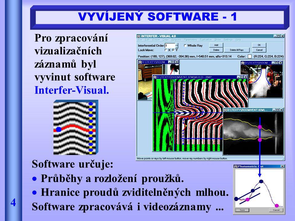 VYVÍJENÝ SOFTWARE - 1 4 Software určuje:  Průběhy a rozložení proužků.  Hranice proudů zviditelněných mlhou. Software zpracovává i videozáznamy... P
