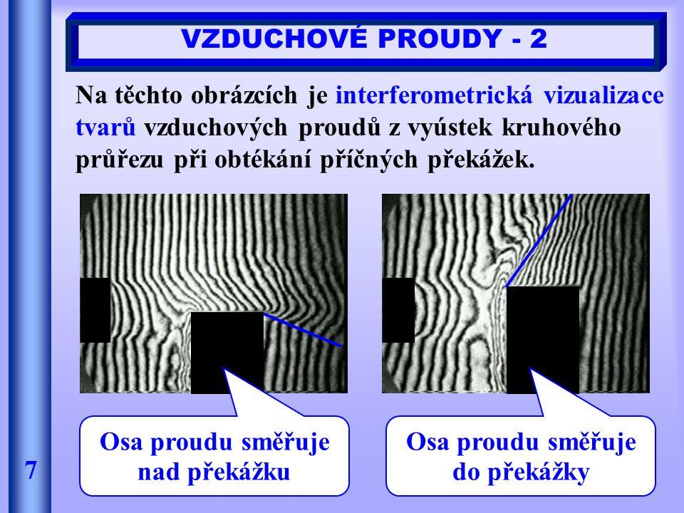VZDUCHOVÉ PROUDY - 2 7 Na těchto obrázcích je interferometrická vizualizace tvarů vzduchových proudů z vyústek kruhového průřezu při obtékání příčných