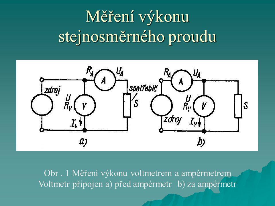 Měření výkonu stejnosměrného proudu  Zapojení podle obr.