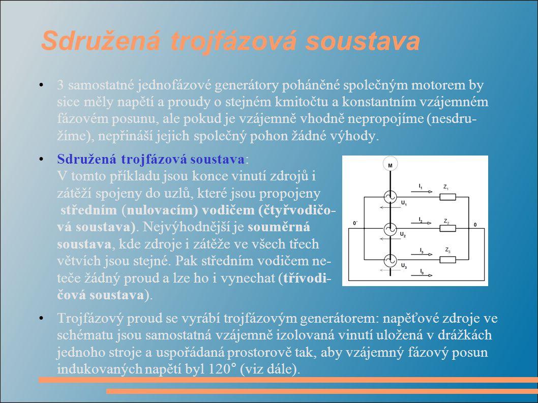 Vznik trojfázového proudu: trojfázový alternátor Pracuje na principu indukce elektric- kého napětí v cívkách umístěných v proměnném magnetickém poli.