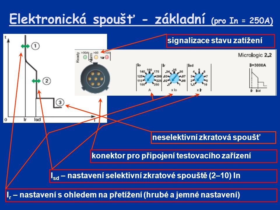 Elektronická spoušť - základní (pro In = 250A) I r – nastavení s ohledem na přetížení (hrubé a jemné nastavení) I sd – nastavení selektivní zkratové spouště (2–10) In signalizace stavu zatížení konektor pro připojení testovacího zařízení neselektivní zkratová spoušť