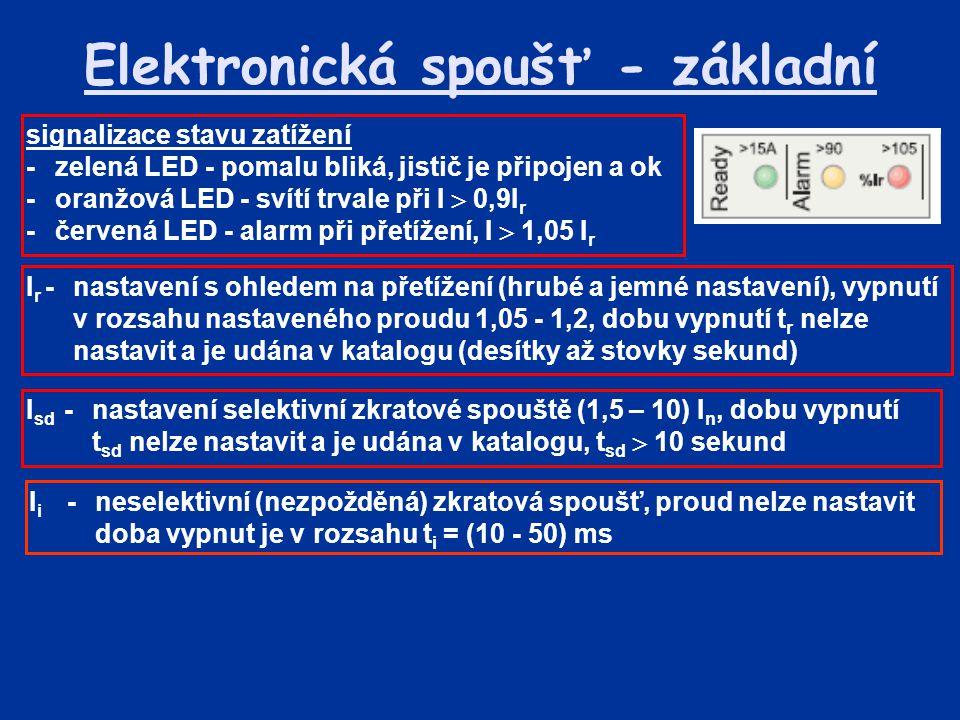Elektronická spoušť - základní I r -nastavení s ohledem na přetížení (hrubé a jemné nastavení), vypnutí v rozsahu nastaveného proudu 1,05 - 1,2, dobu