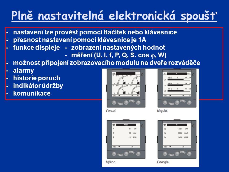 Plně nastavitelná elektronická spoušť -nastavení lze provést pomocí tlačítek nebo klávesnice -přesnost nastavení pomocí klávesnice je 1A -funkce displeje-zobrazení nastavených hodnot -měření (U, I, f, P, Q, S.