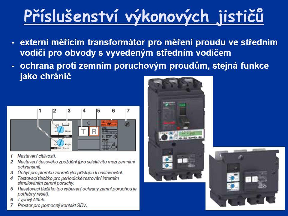 Příslušenství výkonových jističů -externí měřícím transformátor pro měření proudu ve středním vodiči pro obvody s vyvedeným středním vodičem -ochrana proti zemním poruchovým proudům, stejná funkce jako chránič