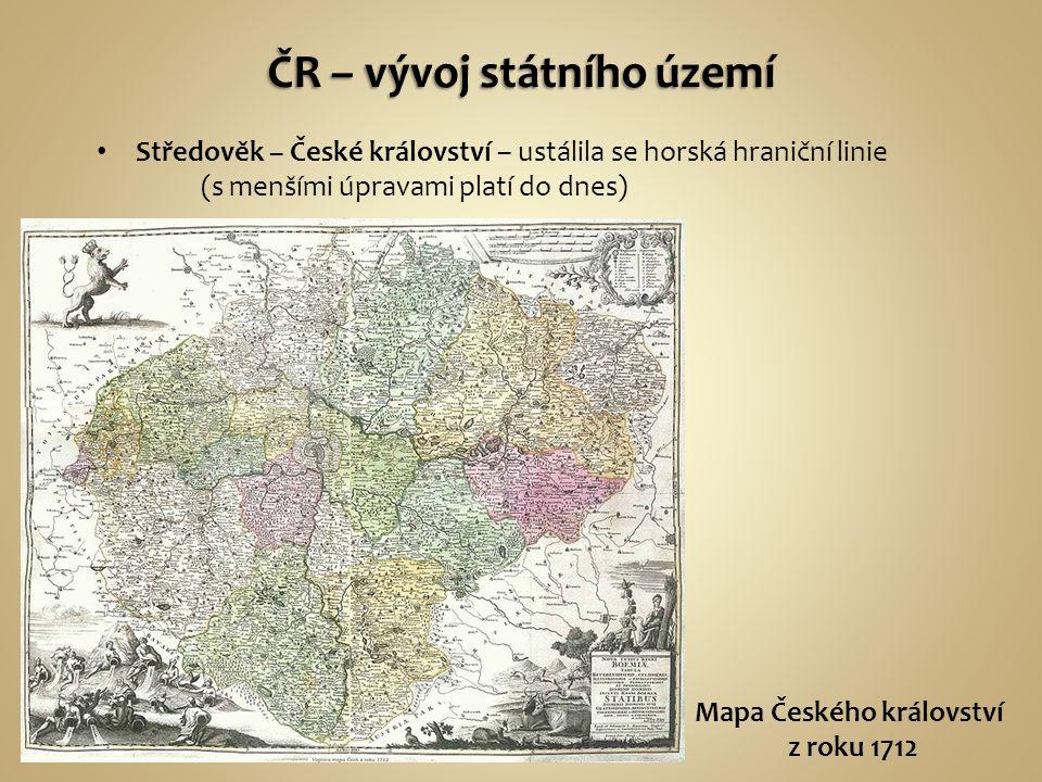 Středověk – České království – ustálila se horská hraniční linie (s menšími úpravami platí do dnes) Mapa Českého království z roku 1712