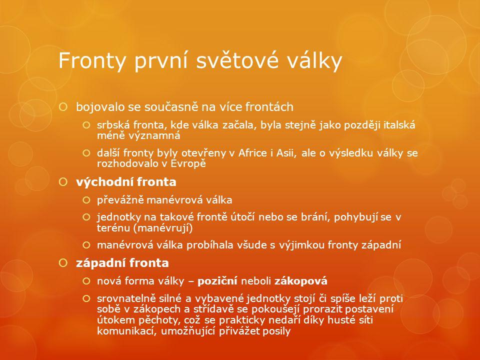 Fronty první světové války  bojovalo se současně na více frontách  srbská fronta, kde válka začala, byla stejně jako později italská méně významná 