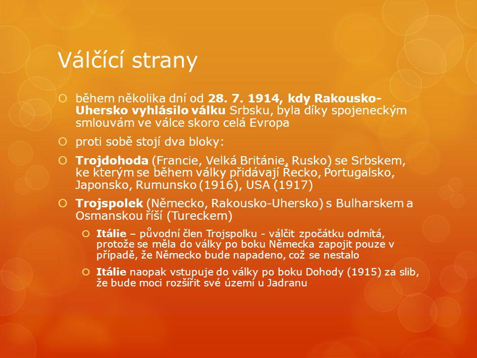 Válčící strany  během několika dní od 28. 7. 1914, kdy Rakousko- Uhersko vyhlásilo válku Srbsku, byla díky spojeneckým smlouvám ve válce skoro celá E