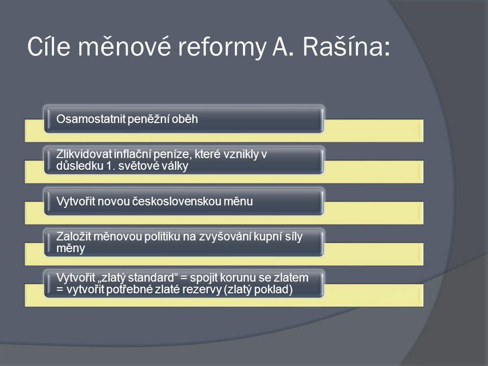 Cíle měnové reformy A. Rašína: Osamostatnit peněžní oběh Zlikvidovat inflační peníze, které vznikly v důsledku 1. světové války Vytvořit novou českosl