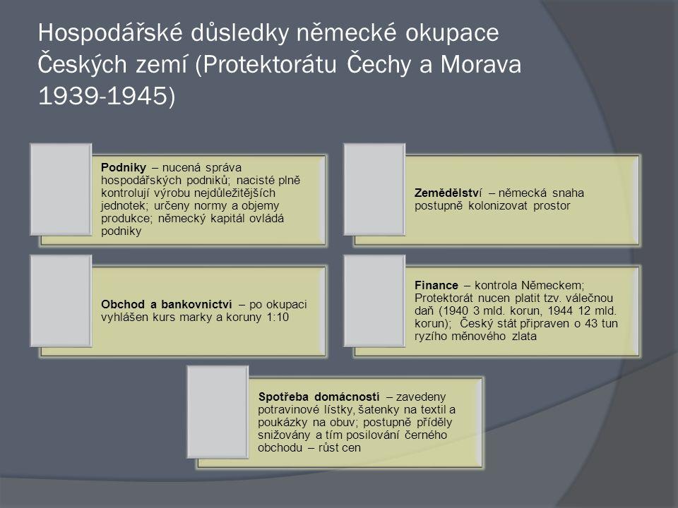 Hospodářské důsledky německé okupace Českých zemí (Protektorátu Čechy a Morava 1939-1945) Podniky – nucená správa hospodářských podniků; nacisté plně