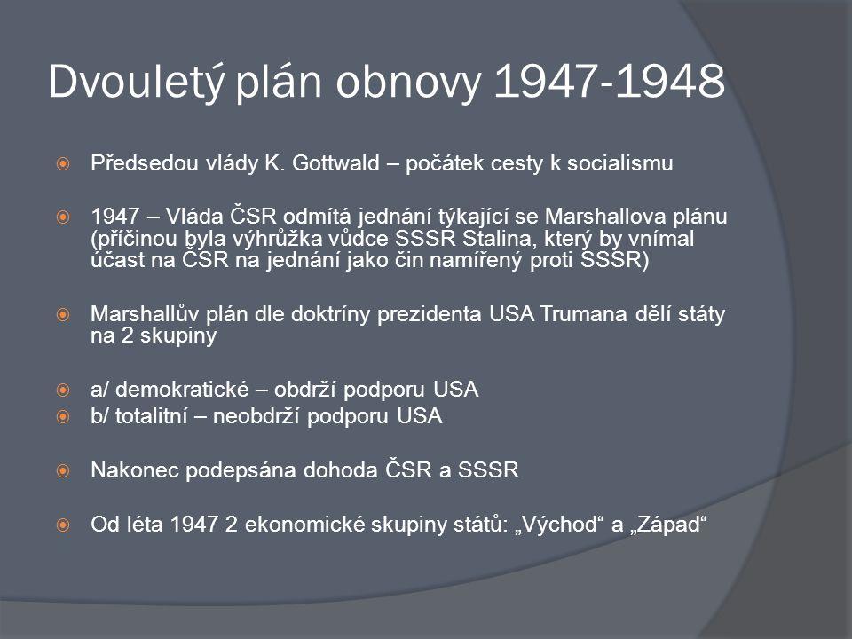 Dvouletý plán obnovy 1947-1948  Předsedou vlády K. Gottwald – počátek cesty k socialismu  1947 – Vláda ČSR odmítá jednání týkající se Marshallova pl