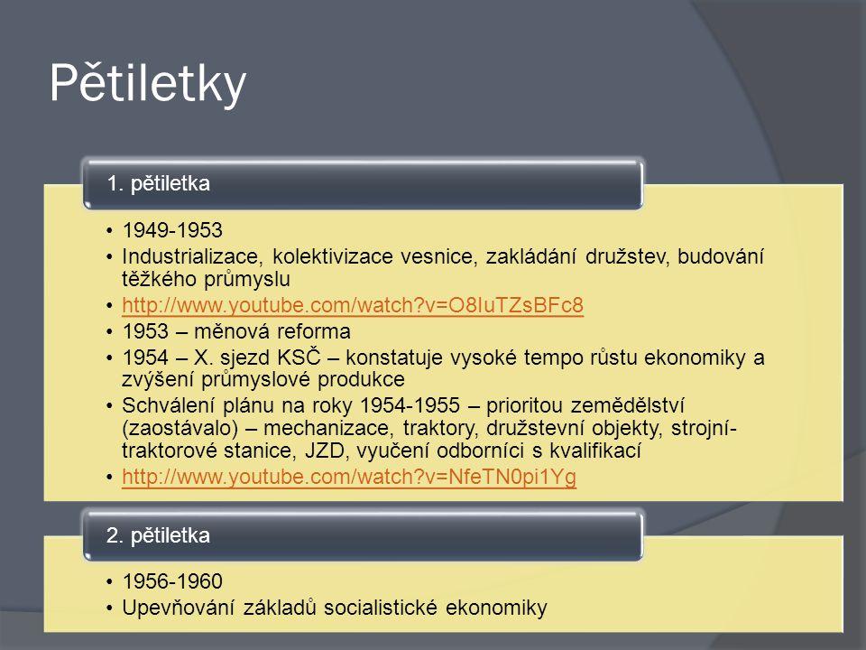 Pětiletky 1949-1953 Industrializace, kolektivizace vesnice, zakládání družstev, budování těžkého průmyslu http://www.youtube.com/watch?v=O8IuTZsBFc8 1