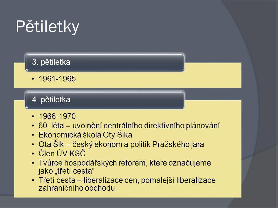 Pětiletky 1961-1965 3. pětiletka 1966-1970 60. léta – uvolnění centrálního direktivního plánování Ekonomická škola Oty Šika Ota Šik – český ekonom a p