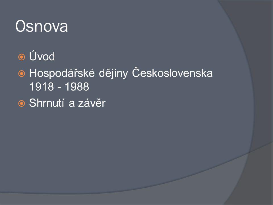Osnova  Úvod  Hospodářské dějiny Československa 1918 - 1988  Shrnutí a závěr