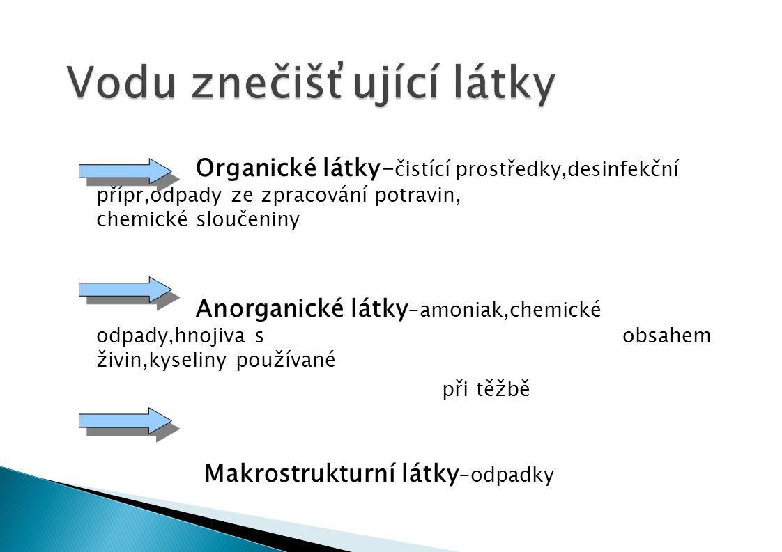 Organické látky- čistící prostředky,desinfekční přípr,odpady ze zpracování potravin, chemické sloučeniny Anorganické látky -amoniak,chemické odpady,hnojiva s obsahem živin,kyseliny používané při těžbě Makrostrukturní látky -odpadky