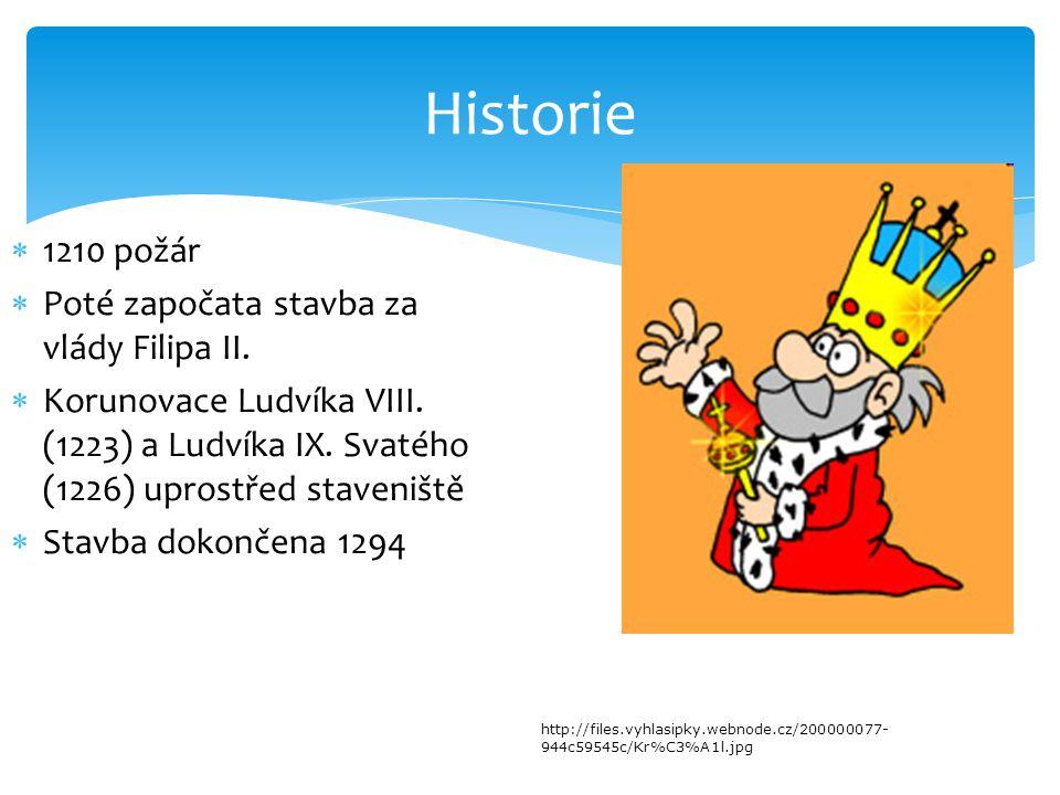 Historie  1210 požár  Poté započata stavba za vlády Filipa II.  Korunovace Ludvíka VIII. (1223) a Ludvíka IX. Svatého (1226) uprostřed staveniště 