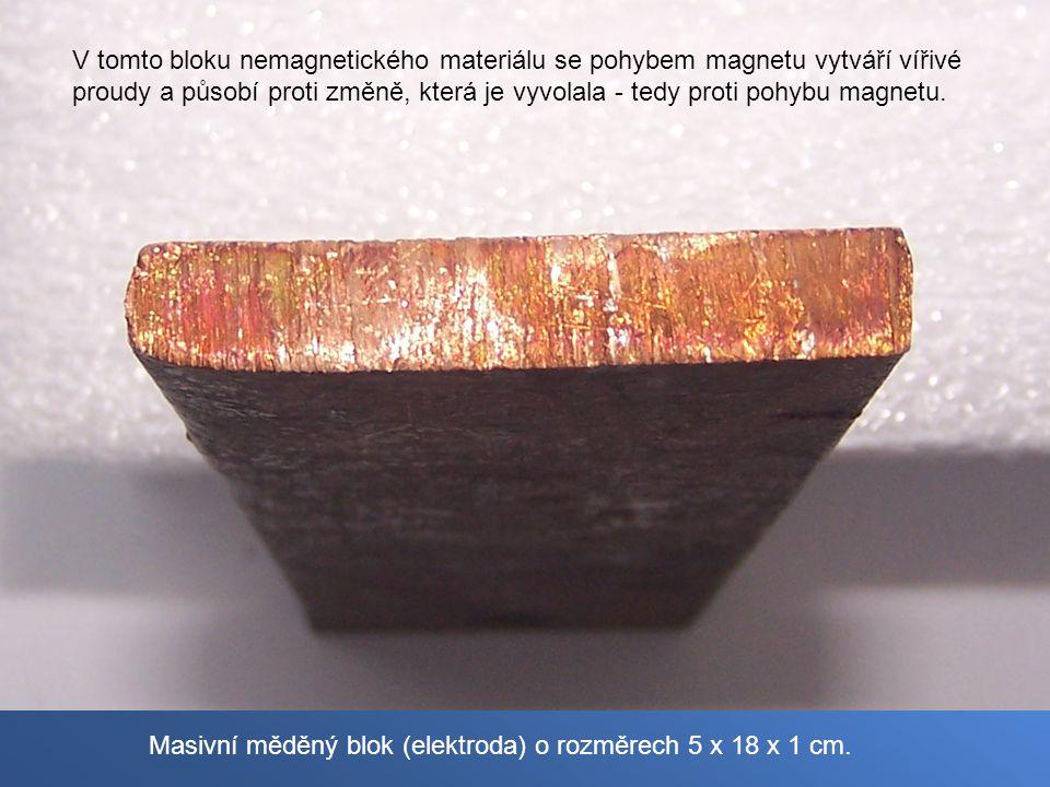 Masivní měděný blok (elektroda) o rozměrech 5 x 18 x 1 cm. V tomto bloku nemagnetického materiálu se pohybem magnetu vytváří vířivé proudy a působí pr