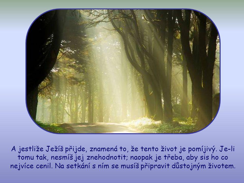 A protože nevíš, přijde-li Kristus dnes, večer, zítra nebo za rok či více, musíš bdít.