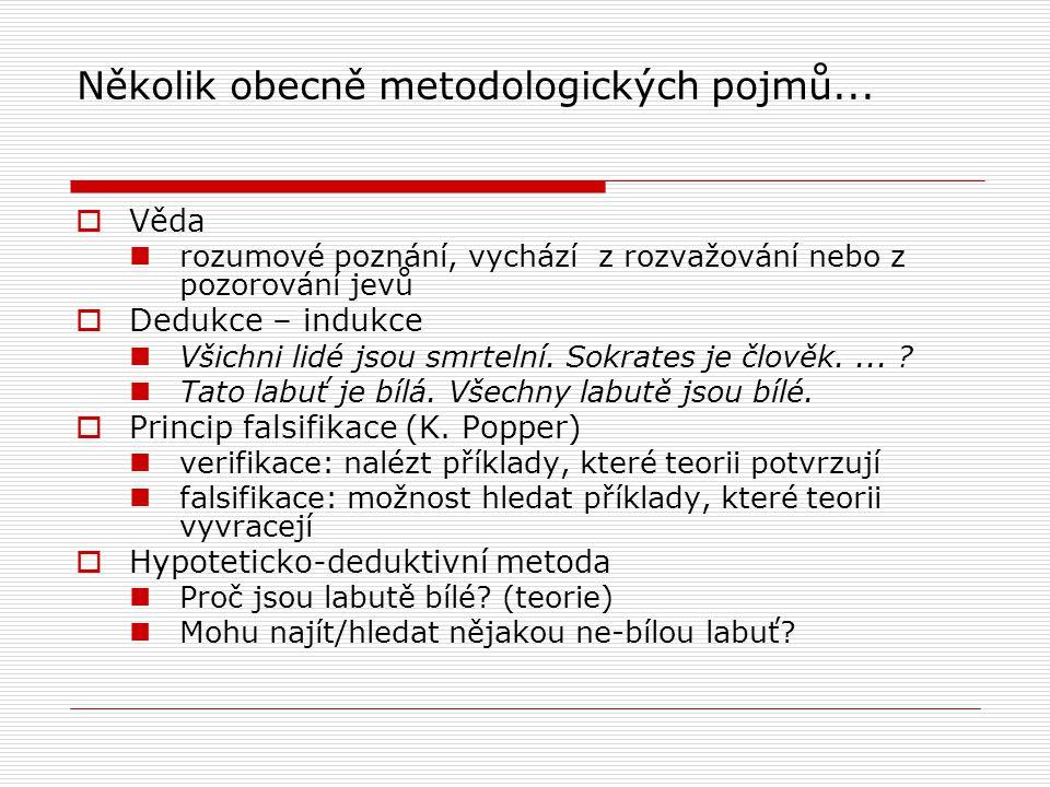 Několik obecně metodologických pojmů...