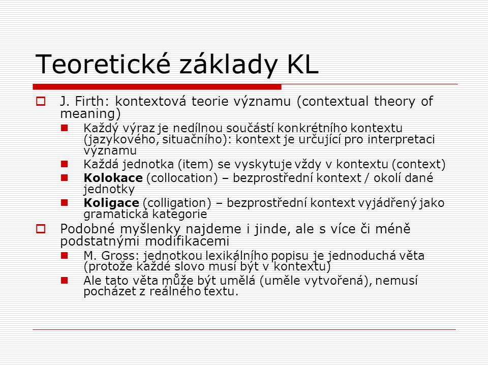Teoretické základy KL  J. Firth: kontextová teorie významu (contextual theory of meaning) Každý výraz je nedílnou součástí konkrétního kontextu (jazy
