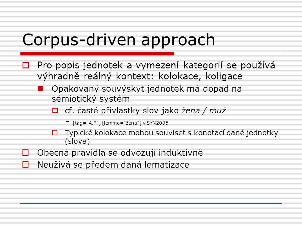 Corpus-driven approach  Pro popis jednotek a vymezení kategorií se používá výhradně reálný kontext: kolokace, koligace Opakovaný souvýskyt jednotek má dopad na sémiotický systém  cf.
