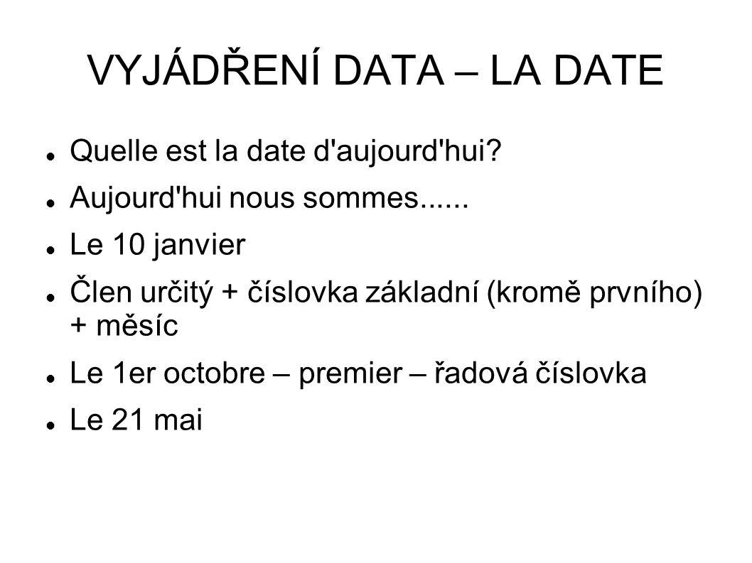 VYJÁDŘENÍ DATA – LA DATE Quelle est la date d'aujourd'hui? Aujourd'hui nous sommes...... Le 10 janvier Člen určitý + číslovka základní (kromě prvního)
