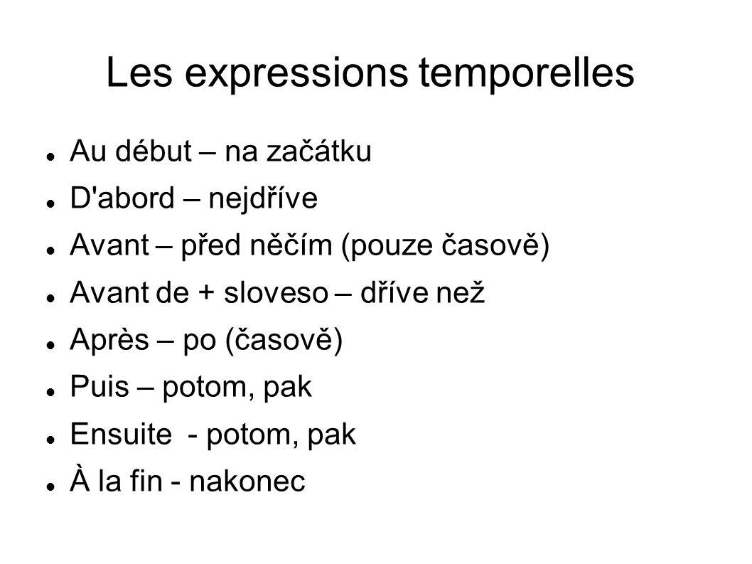 Les expressions temporelles Au début – na začátku D'abord – nejdříve Avant – před něčím (pouze časově) Avant de + sloveso – dříve než Après – po (časo