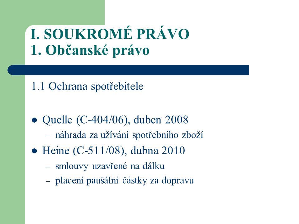 I.SOUKROMÉ PRÁVO 1. Občanské právo 1.2.